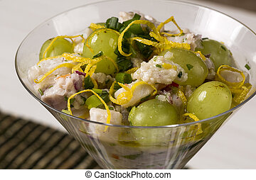 Ceviche fish tartare with Grape.