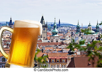 Beer with the panorama of Prague - Beer with Prague in the...