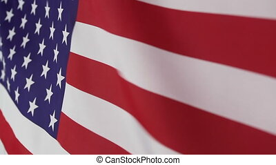 Moving fabric United States flag - Closeup of a moving...