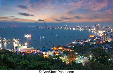 Skyscrapers in twilight time at Pattaya,Thailand