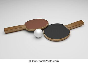 ping pong rackets and ball - two wooden ping pong rackets...