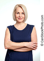 Friendly smiling middle-aged business woman isolated on...