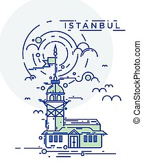 The Maiden Tower, Istanbul - Trendy flat line, thin line...