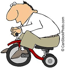 homem, ligado, Um, triciclo