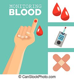 monitoring Blood design, medical and healthcare concept