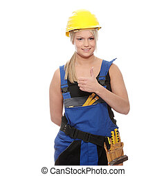 Woman worker with helmet and tools over white background