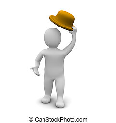 Greeting man raising the hat 3d rendered illustration