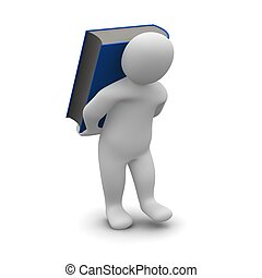 Man carrying blue hardcover book. 3d rendered illustration.