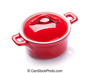 Saucepan - Red saucepan Isolated on white background