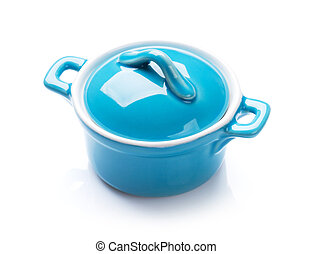 Saucepan - Blue saucepan Isolated on white background