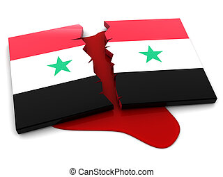 Syria conflict - 3d illustration of Syria flag and oil...