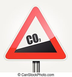 Traffic Sign CO2 - detailed illustration of read uphill CO2...