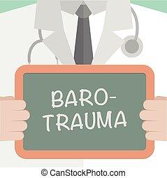 Medical Board Barotrauma - minimalistic illustration of a...
