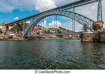 Porto - Dom Luis bridge in Porto, the beautiful city on the...