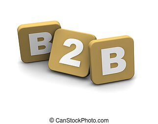 B2B alias business to business ext. 3d rendered illustration...