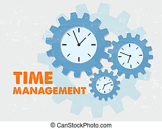 time management with clocks in grunge flat design gears -...