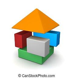 Dissasembled house. 3d rendered illustration.