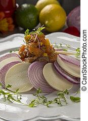 Salmon Ceviche Traditional peruvian dish
