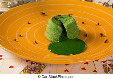 petit gateau with green sava ant