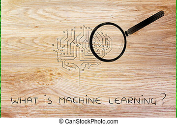 electronic brain with magnifying glass, machine learning -...