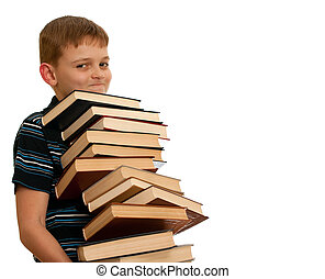Time for getting knowledge - A smiling kid is holding a pile...