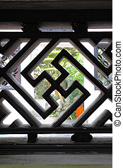 Swastika - decorative element of bars in ancient Yu Yuan...