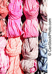 Scarfs - Different textile scarfs close-up
