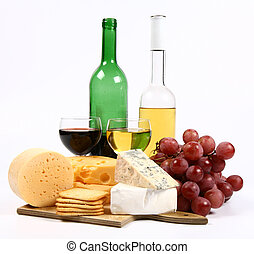 Various types of cheese and wine - Various types of cheese...