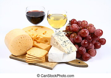 Various types of cheese swiss, yellow, brie, blue cheese...