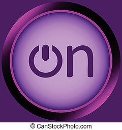 Icon violet word on - Icon with the graphic button of...