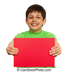 This is my choice - A boy is holding a sheet of red paper;...