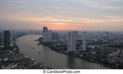 Bangkok City Skyscraper view sunset