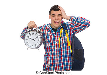 Student holding alarm clock isolated on white