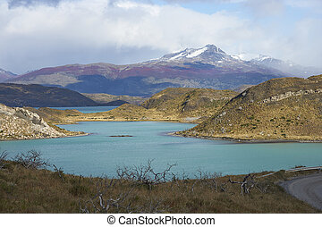 Torres del Paine National Park - Snow capped peak of Cerro...