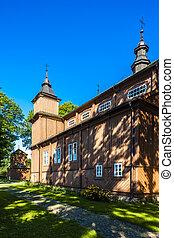 wooden Catholic church in Narew, Podlaskie Voivodeship,...