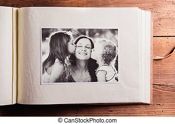 Mothers day composition. Photo album, black-and-white...