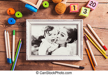 Mothers day composition. Black-and-white photo. Various...