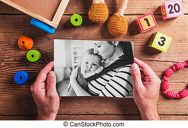 Mothers day composition Black-and-white photo Various toys...