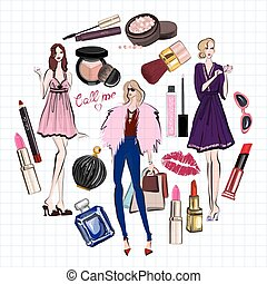 Hand drawn images Cosmetics and Perfume For any kind of...