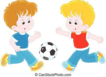 Little football players - Vector illustration of two boys...