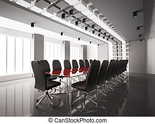 Modern boardroom interior 3d - Modern boardroom with red...