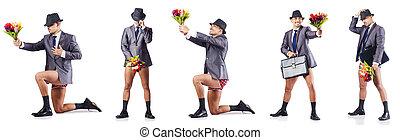 desnudo, hombre de negocios, presentación, flores,...