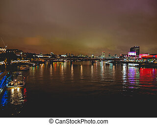 River Thames in London - Panoramic view of River Thames at...