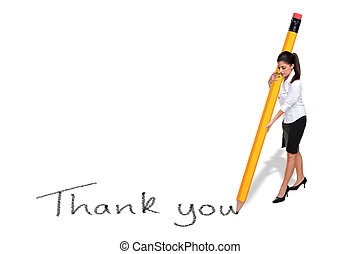 Businesswoman writing Thank you with giant pencil -...