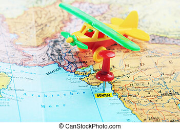 Bombay India map airplane - Close up of Bombay India map...