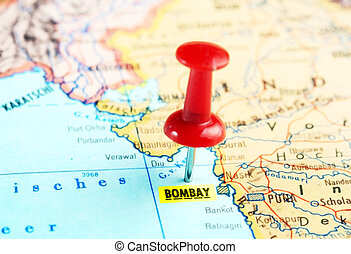 Bombay India map - Close up of Bombay India map with red pin...