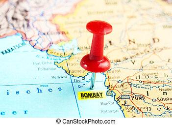 Bombay, Índia, mapa,