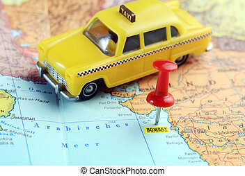 Bombay India map taxi - Close up of Bombay India map with...