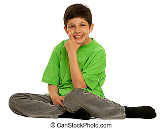 Handsome boy - A handsome boy in green is sitting and...
