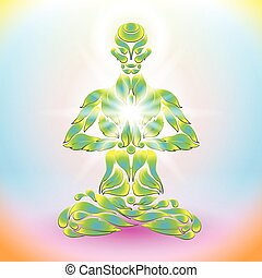 Yoga Lotus - Yoga man in the lotus position in the form of...
